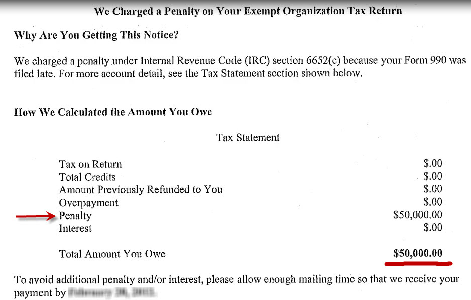 IRS penalty notice for Form 990 late filing